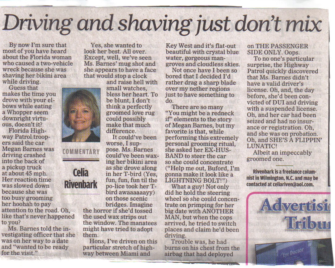 Driving & Shaving Just Don't Mix | You Got to be Kidding's Blog
